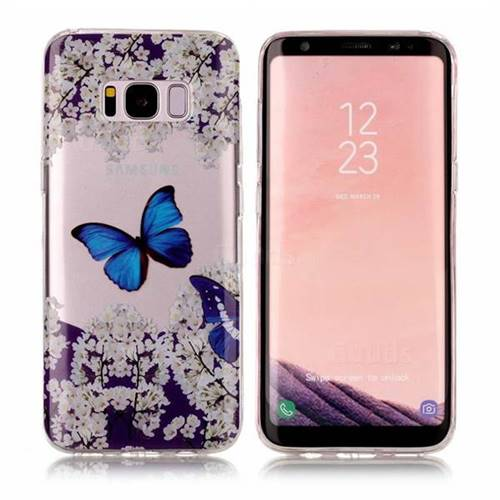 Blue Butterfly Flower Super Clear Soft TPU Back Cover for Samsung Galaxy S8