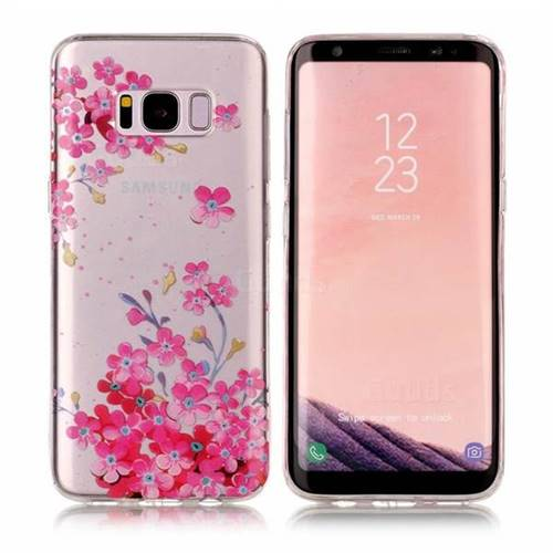 Plum Blossom Bloom Super Clear Soft TPU Back Cover for Samsung Galaxy S8 Plus S8+