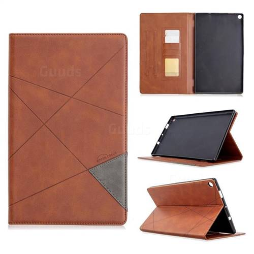 Binfen Color Prismatic Slim Magnetic Sucking Stitching Wallet Flip Cover for Amazon Fire HD 10(2015) - Brown