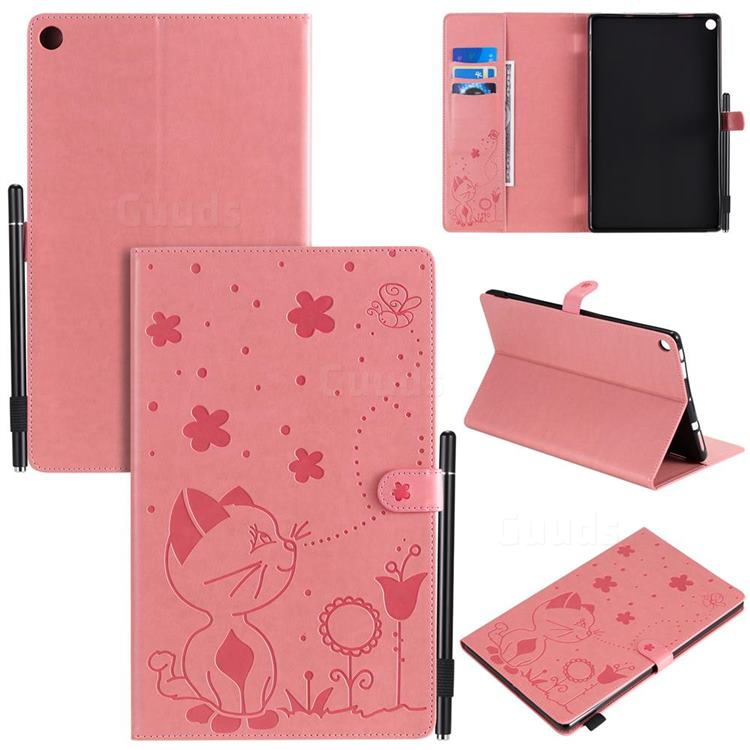Embossing Bee and Cat Leather Flip Cover for Amazon Fire HD 10(2015) - Pink