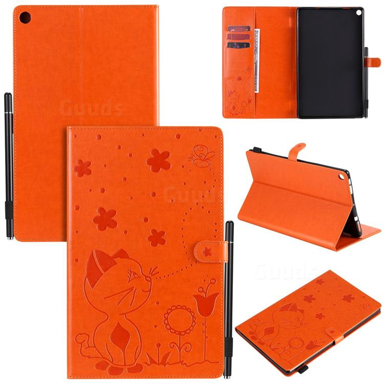Embossing Bee and Cat Leather Flip Cover for Amazon Fire HD 10(2015) - Orange
