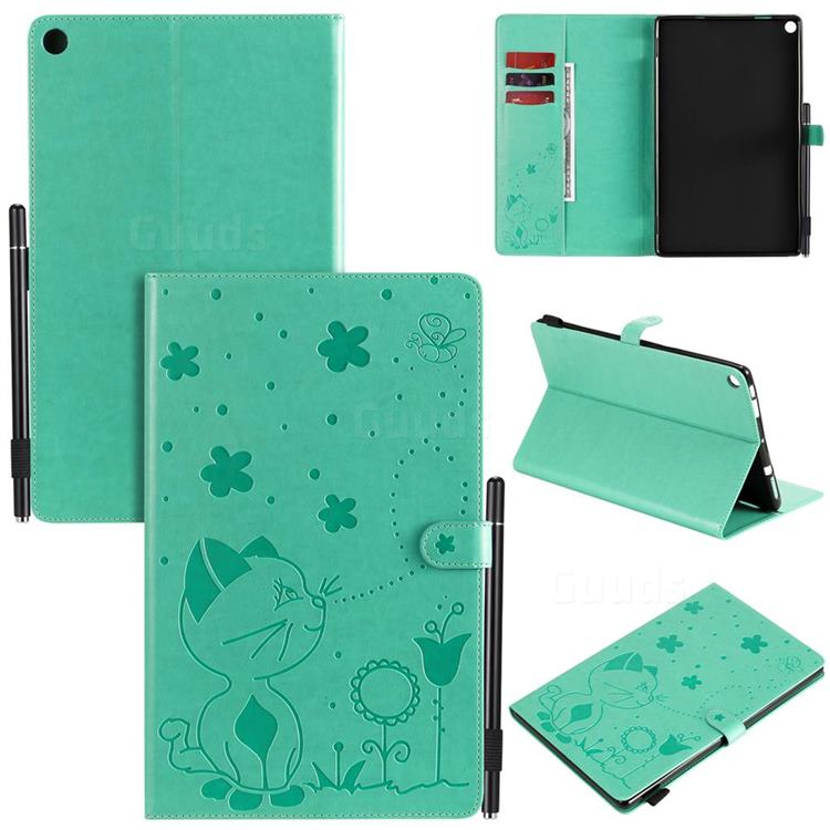 Embossing Bee and Cat Leather Flip Cover for Amazon Fire HD 10(2015) - Green