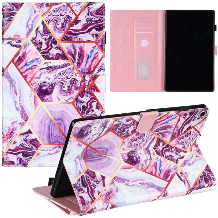 Dream Purple Stitching Color Marble Leather Flip Cover for Amazon Fire HD 10(2015)