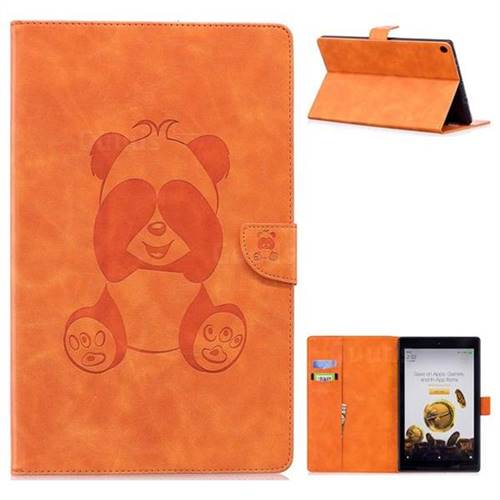 Lovely Panda Embossing 3D Leather Flip Cover for Amazon Fire HD 10 (2017) - Orange