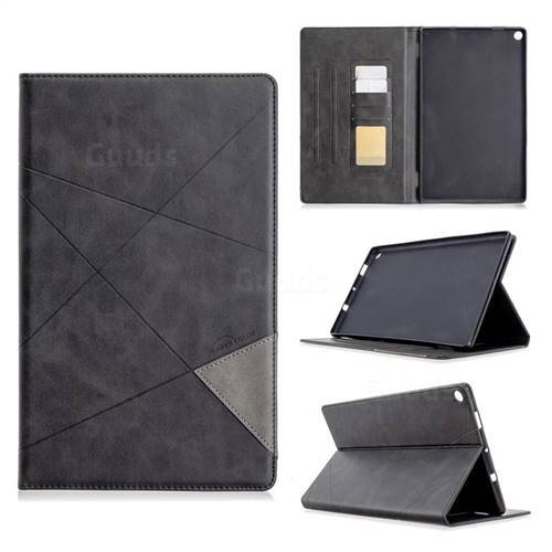 Binfen Color Prismatic Slim Magnetic Sucking Stitching Wallet Flip Cover for Amazon Fire HD 10 (2017) - Black