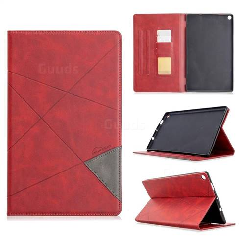 Binfen Color Prismatic Slim Magnetic Sucking Stitching Wallet Flip Cover for Amazon Fire HD 10 (2017) - Red