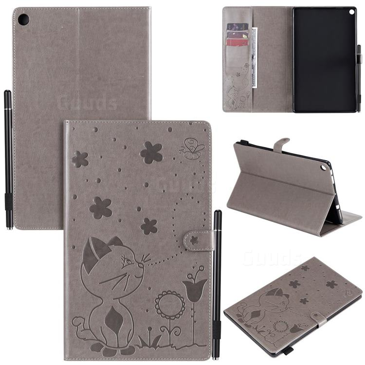 Embossing Bee and Cat Leather Flip Cover for Amazon Fire HD 10 (2017) - Gray