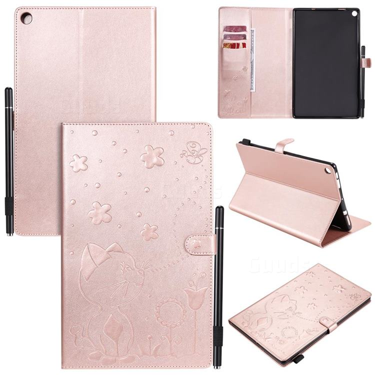 Embossing Bee and Cat Leather Flip Cover for Amazon Fire HD 10 (2017) - Rose Gold