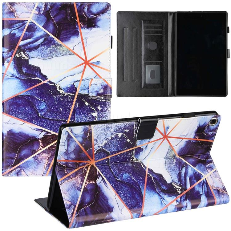Starry Blue Stitching Color Marble Leather Flip Cover for Amazon Fire HD 10 (2017)