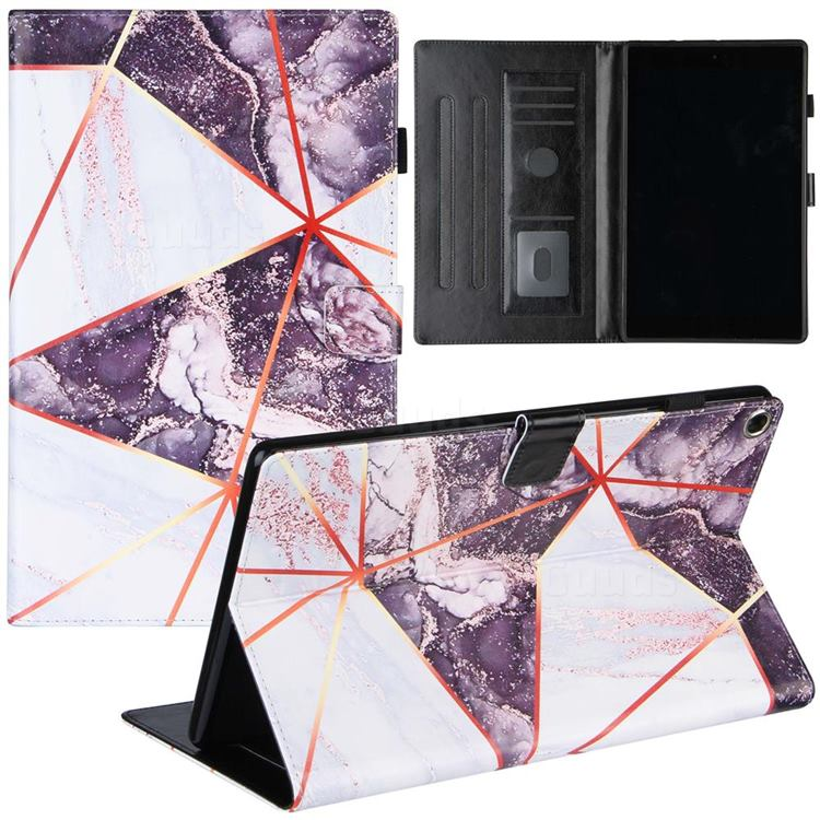 Black and White Stitching Color Marble Leather Flip Cover for Amazon Fire HD 10 (2017)