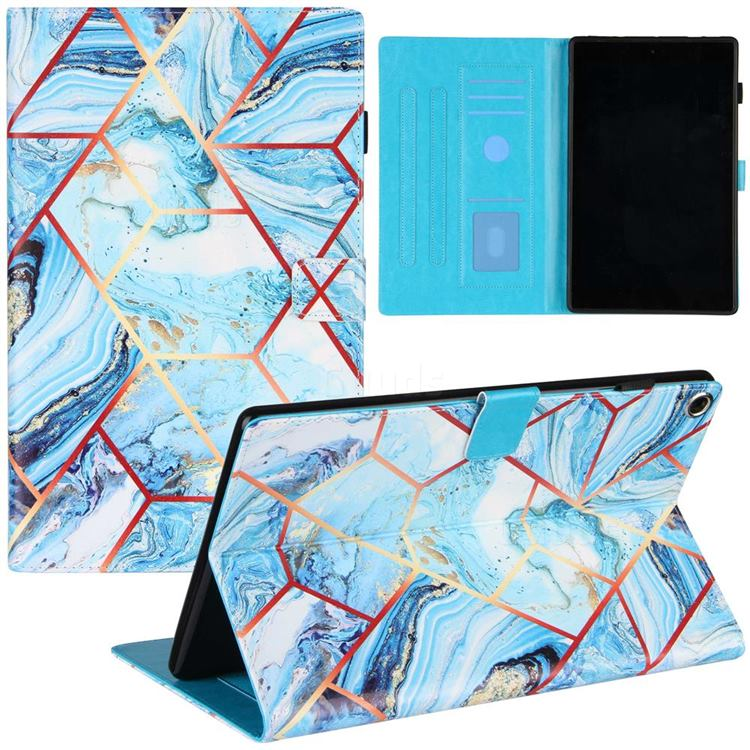 Lake Blue Stitching Color Marble Leather Flip Cover for Amazon Fire HD 10 (2017)