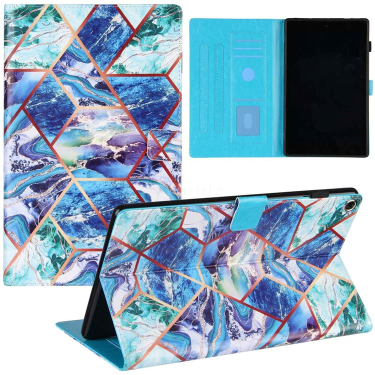 Green and Blue Stitching Color Marble Leather Flip Cover for Amazon Fire HD 10 (2017)