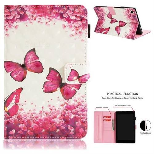 72b4f42d96ceb4 Rose Butterfly 3D Painted Leather Wallet Tablet Case for Amazon Fire HD 8  (2016)