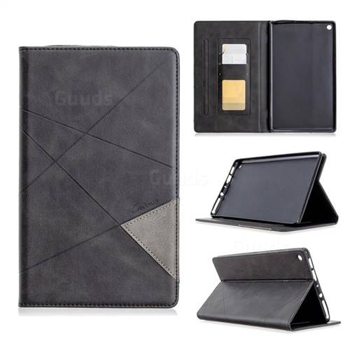 Binfen Color Prismatic Slim Magnetic Sucking Stitching Wallet Flip Cover for Amazon Fire HD 8 (2017) - Black