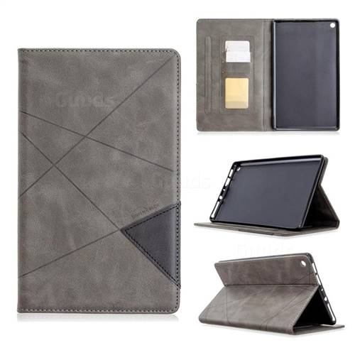 Binfen Color Prismatic Slim Magnetic Sucking Stitching Wallet Flip Cover for Amazon Fire HD 8 (2017) - Gray