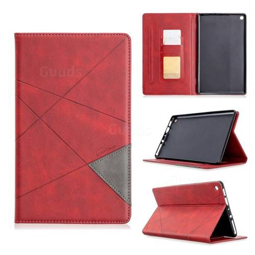 Binfen Color Prismatic Slim Magnetic Sucking Stitching Wallet Flip Cover for Amazon Fire HD 8 (2018) - Red