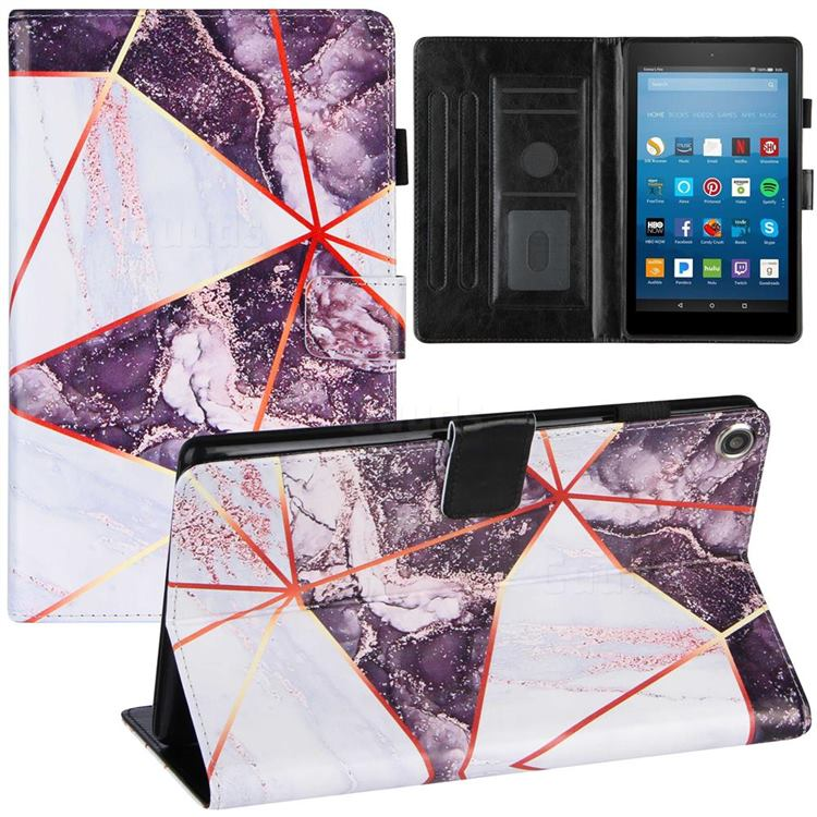 Black and White Stitching Color Marble Leather Flip Cover for Amazon Fire HD 8 (2018)