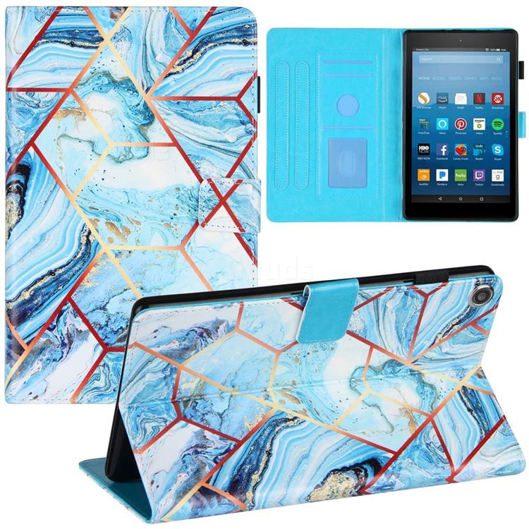Lake Blue Stitching Color Marble Leather Flip Cover for Amazon Fire HD 8 (2018)