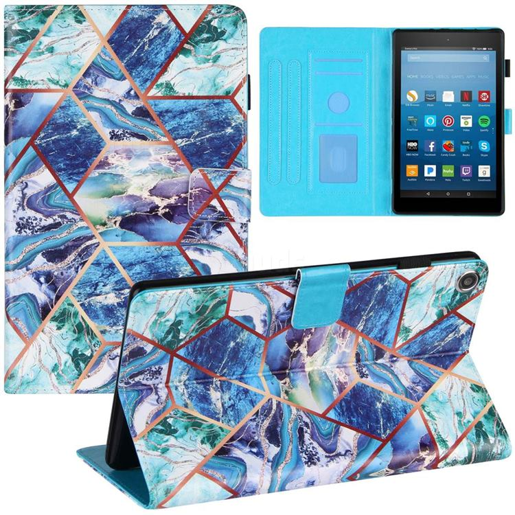 Green and Blue Stitching Color Marble Leather Flip Cover for Amazon Fire HD 8 (2018)