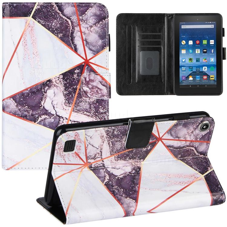 Black and White Stitching Color Marble Leather Flip Cover for Amazon Fire 7(2015)
