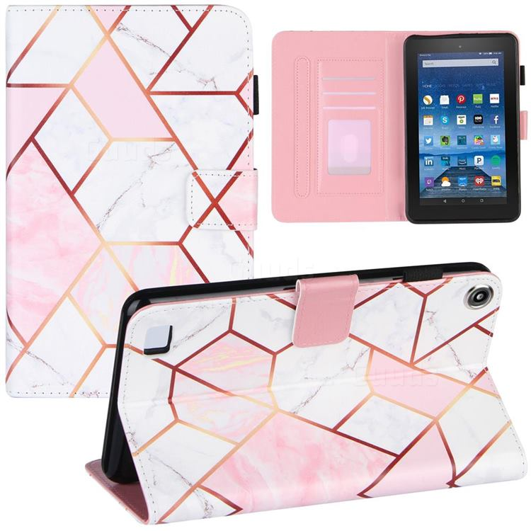 Pink White Stitching Color Marble Leather Flip Cover for Amazon Fire 7 (2019)
