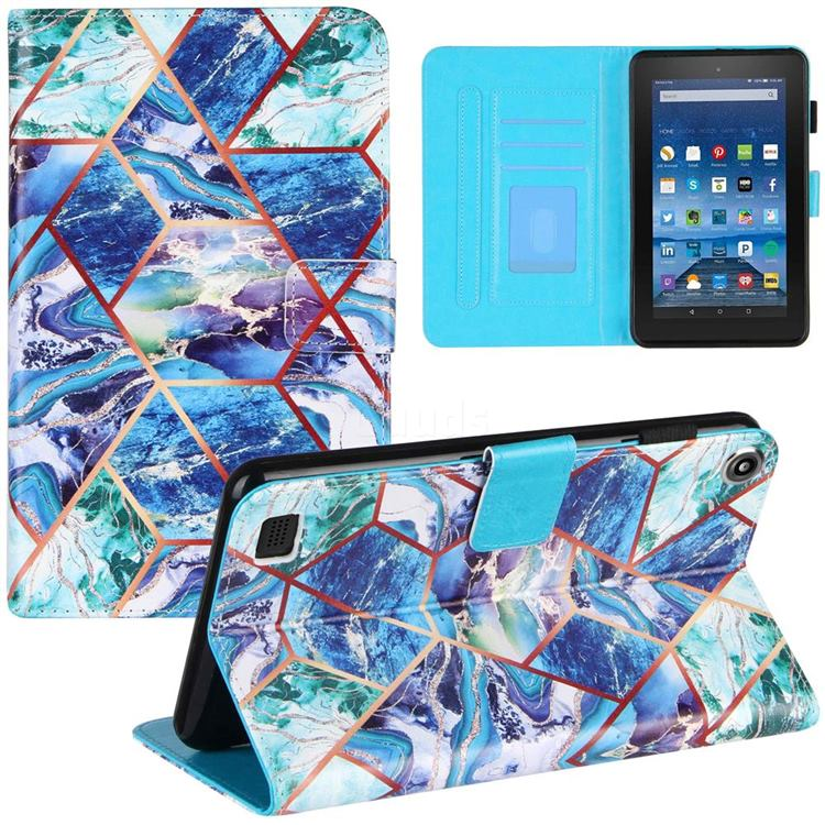 Green and Blue Stitching Color Marble Leather Flip Cover for Amazon Fire 7 (2019)