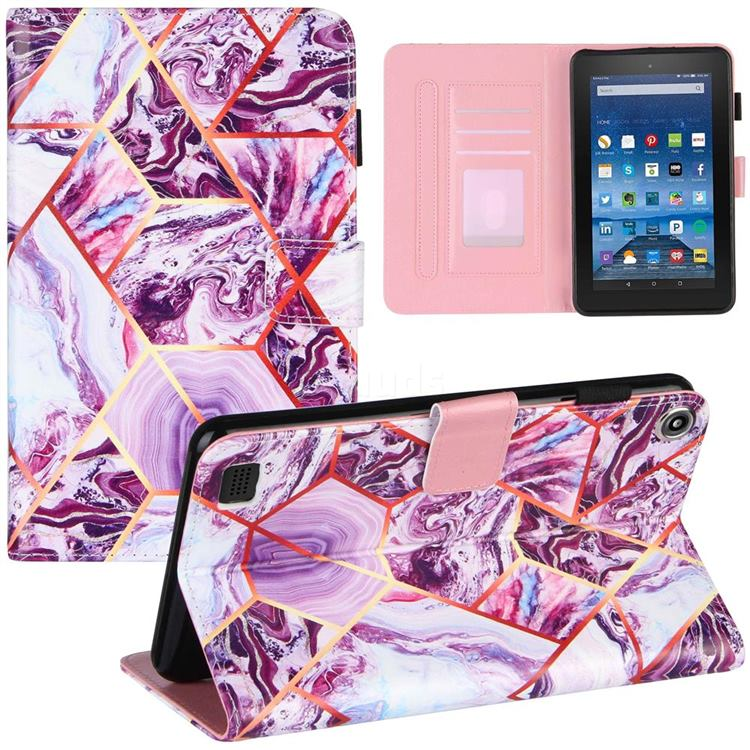Dream Purple Stitching Color Marble Leather Flip Cover for Amazon Fire 7 (2017)