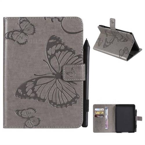 Embossing 3D Butterfly Leather Wallet Case for Amazon Kindle Paperwhite 1 2 3 - Gray