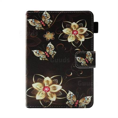 Golden Flower Butterfly Folio Stand Leather Wallet Case for Amazon Kindle  Paperwhite 1 2 3