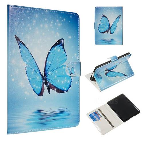 Blue Butterfly Smooth Leather Tablet Wallet Case for Amazon Kindle  Paperwhite 1 2 3