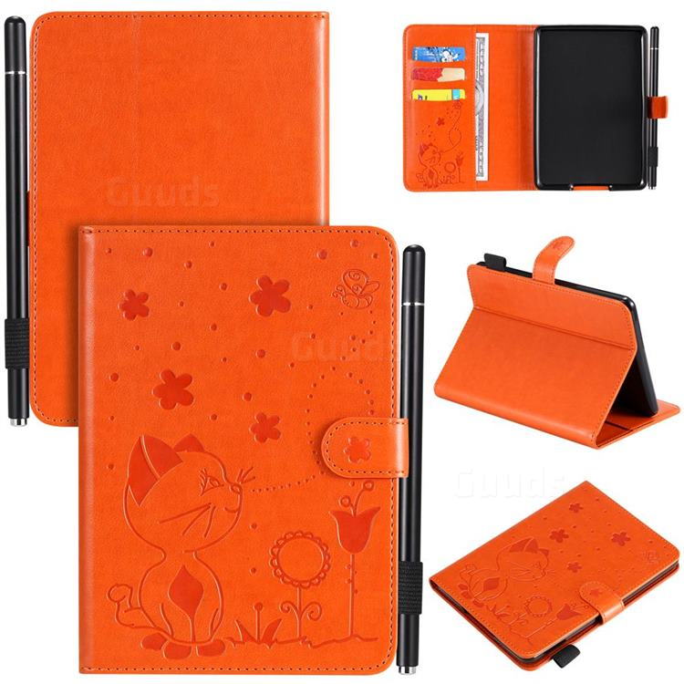 Embossing Bee and Cat Leather Flip Cover for Amazon Kindle Paperwhite 1 2 3 - Orange