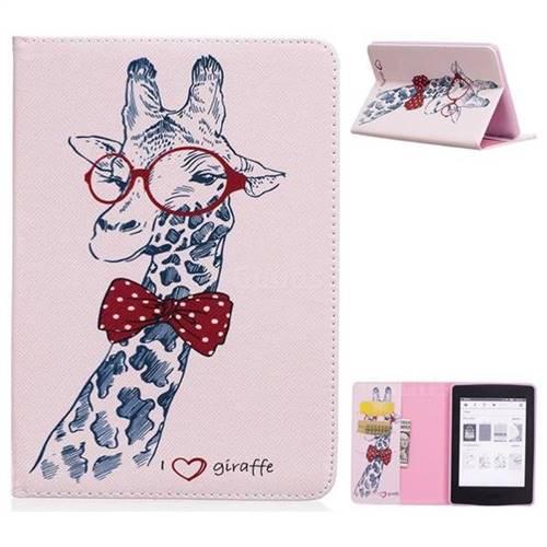 1c6c032c47f Glasses Giraffe Folio Stand Leather Wallet Case for Amazon Kindle Paperwhite  (2018)