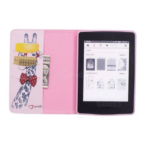 c0b455ec9f8 Glasses Giraffe Folio Stand Leather Wallet Case for Amazon Kindle Paperwhite  (2018) - Amazon Kindle Paperwhite 2018 Cases - Guuds