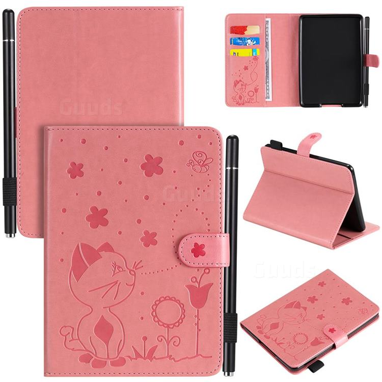 Embossing Bee and Cat Leather Flip Cover for Amazon Kindle Paperwhite (2018) - Pink