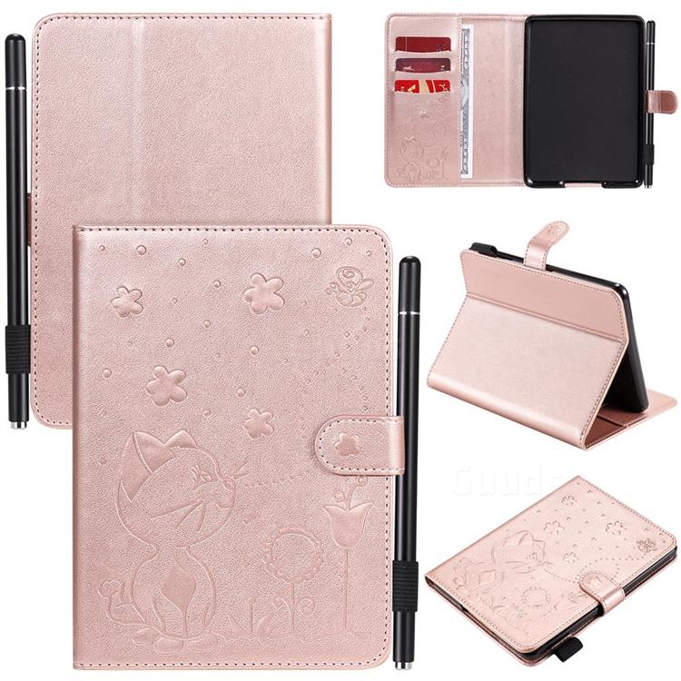 Embossing Bee and Cat Leather Flip Cover for Amazon Kindle Paperwhite (2018) - Rose Gold