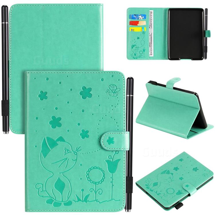 Embossing Bee and Cat Leather Flip Cover for Amazon Kindle Paperwhite (2018) - Green