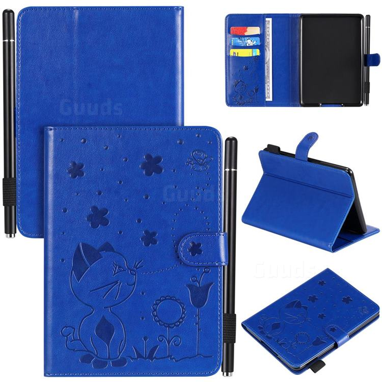 Embossing Bee and Cat Leather Flip Cover for Amazon Kindle Paperwhite (2018) - Blue