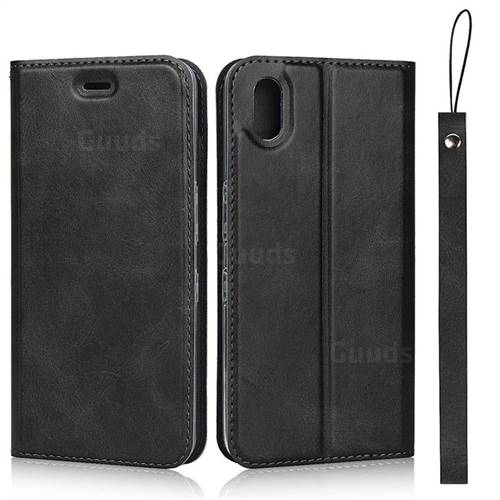 Calf Pattern Magnetic Automatic Suction Leather Wallet Case for Android One S4 - Black