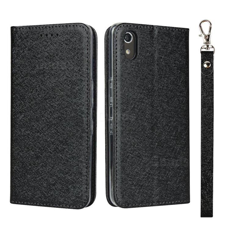 Ultra Slim Magnetic Automatic Suction Silk Lanyard Leather Flip Cover for Android One S4 - Black