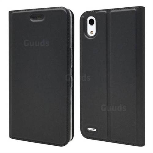 Ultra Slim Card Magnetic Automatic Suction Leather Wallet Case for Android One X3 - Star Grey