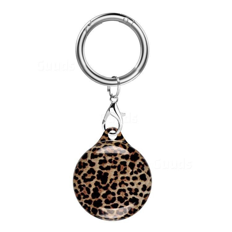 Soft TPU IMD Key Ring Secure Holder Case for Apple AirTag - Dark Leopard
