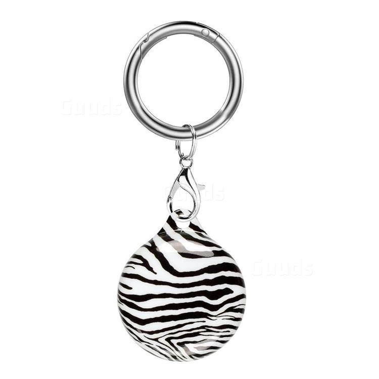 Soft TPU IMD Key Ring Secure Holder Case for Apple AirTag - Zebra