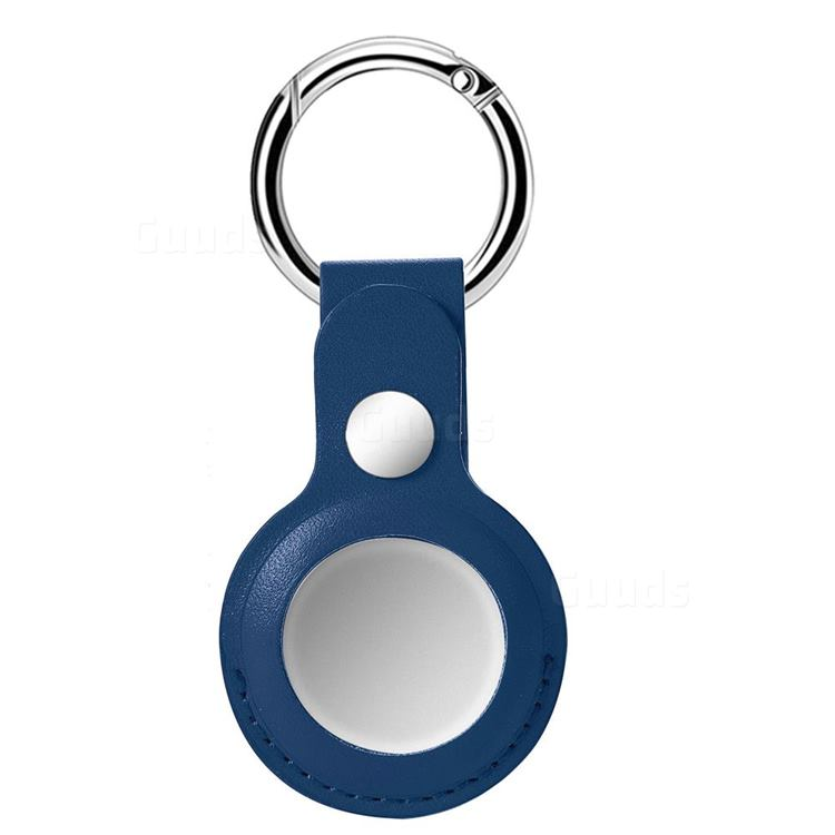 Leather Loop Key Ring Secure Holder Case for Apple AirTag - Blue
