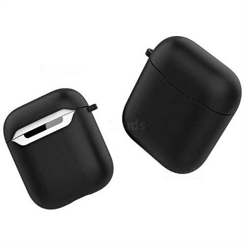 Macaron Matte Shockproof Anti-fall Silicone Protective Case for Apple  AirPods - Black