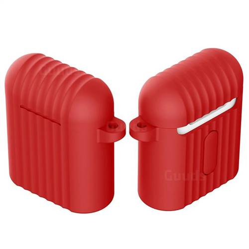 Shockproof Anti-fall Antifouling Silicone Protective Case for Apple AirPods - Red