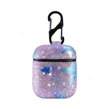 official photos a8dbb 3b0f7 Glitter Star Pattern Slim Leather Case for Apple AirPods - Purple