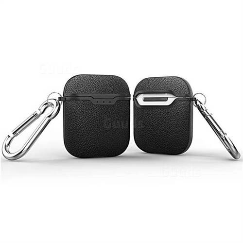 Howmak Litchi Texture Anti-fall Silicone Case for Apple AirPods - Black