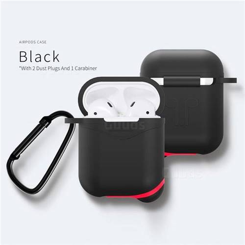 Waterproof Mountaineering Anti-fall Silicone Protective Case for Apple AirPods - Black