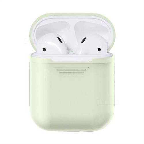 Matte Anti-fall Silicone Protective Case for Apple AirPods - Fluorescence Green