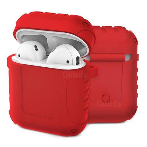 Shockproof Anti-fall Armor Silicone Case for Apple AirPods - Red